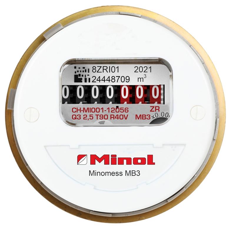 Brunata Minol Minomess® MB3 Unterputzzähler Warmwasser Frontansicht
