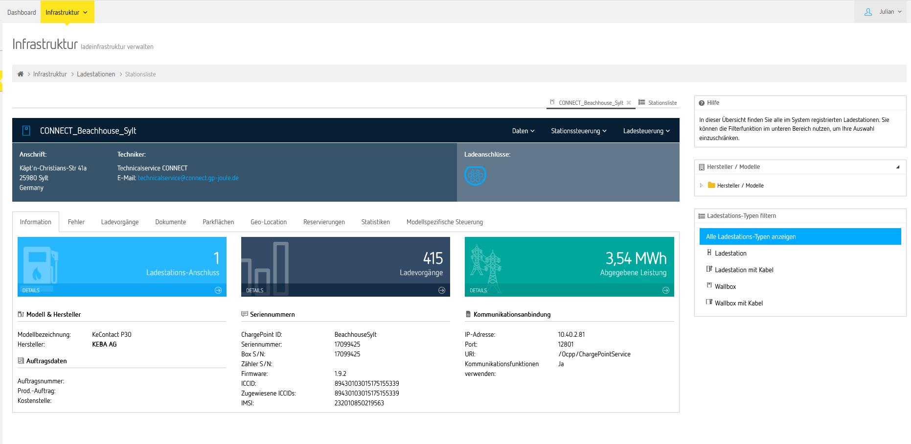 Mobility Management Portal zur Verwaltung Ihrer Ladesäule(n) - Beispiel-Übersicht