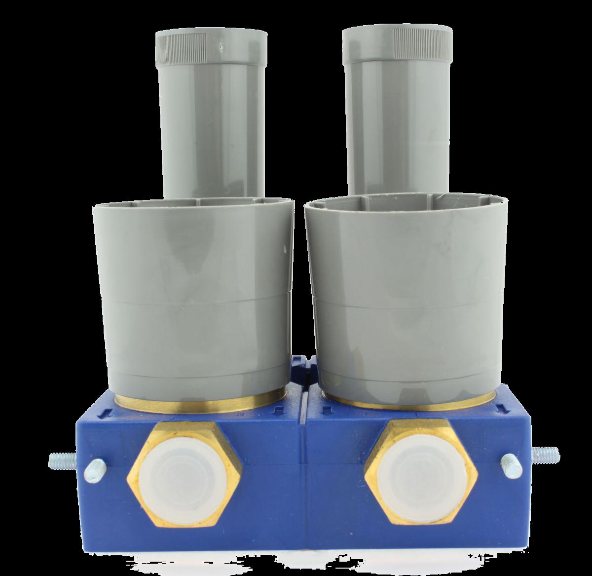 Minoblock micro Wasserzählerblock mit integrierten Absperrschiebern Anschluss Rp 3/4