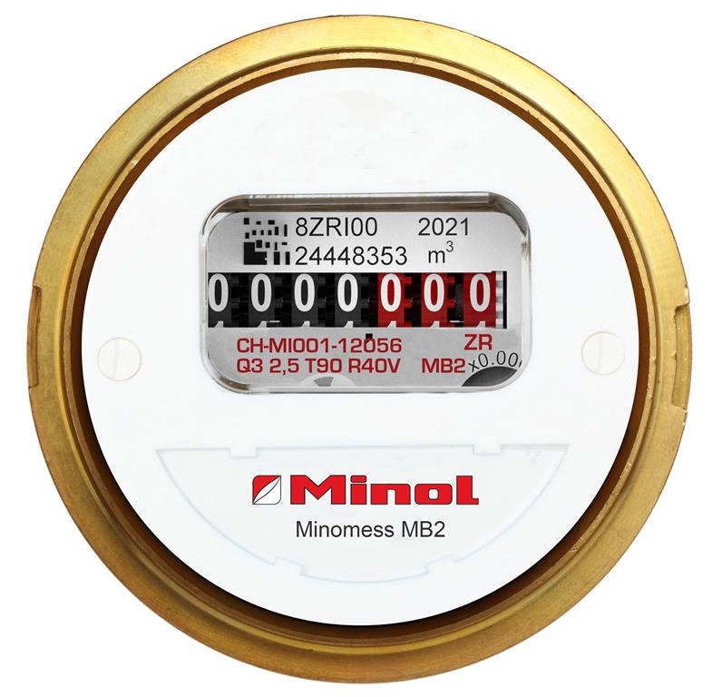 Minomess MB2 Unterputzzähler Warmwasser mit Moduloption Frontansicht