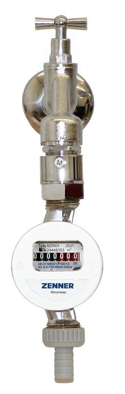 Zapfhahnzähler Minomess® Kaltwasser Frontansicht installiert