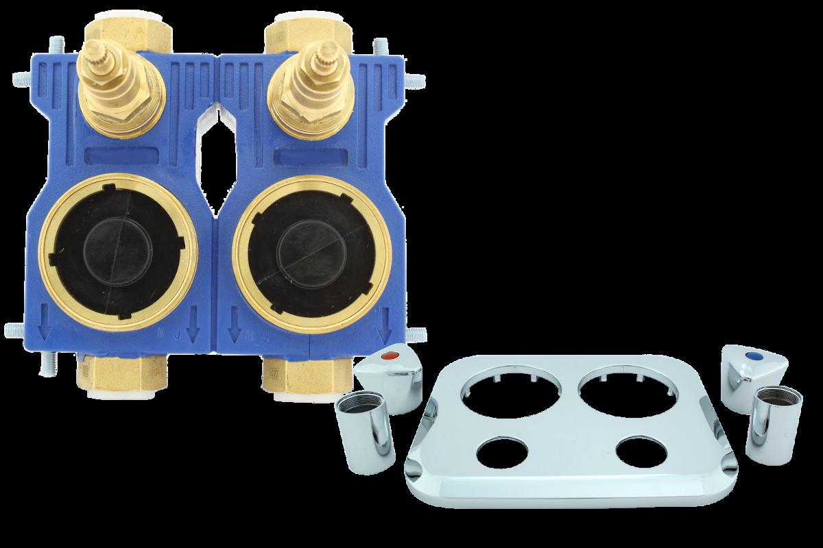 Brunata Minol Wasserzählerblock Minoblock® dazu passendes Aufputzset in chrom
