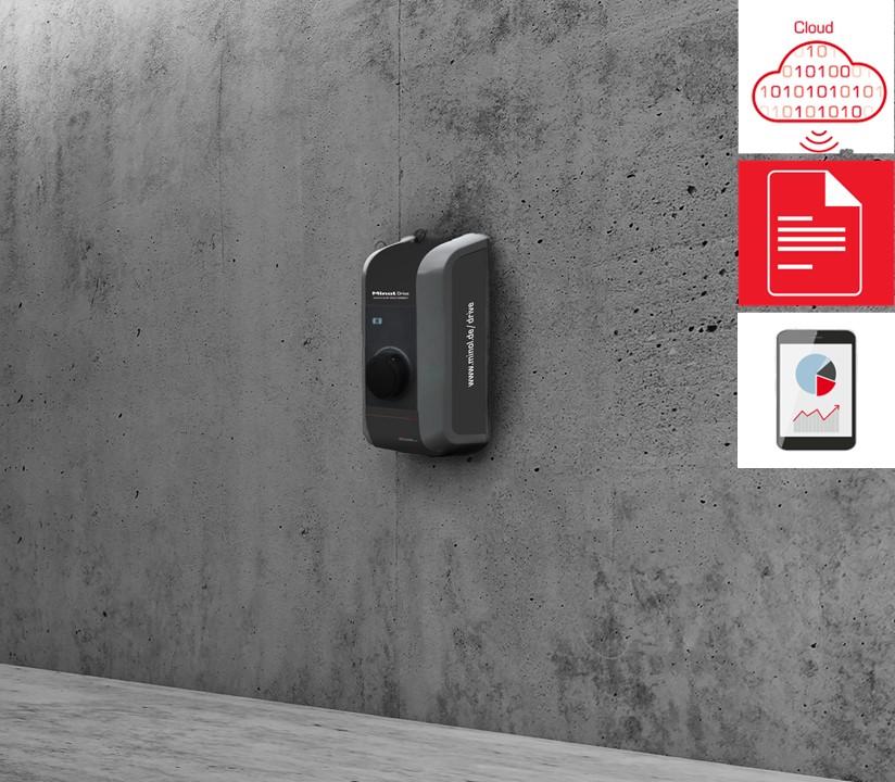 Minol Drive Dienstwagen Zuhause Laden & Abrechnen Wallbox an grauer Wand