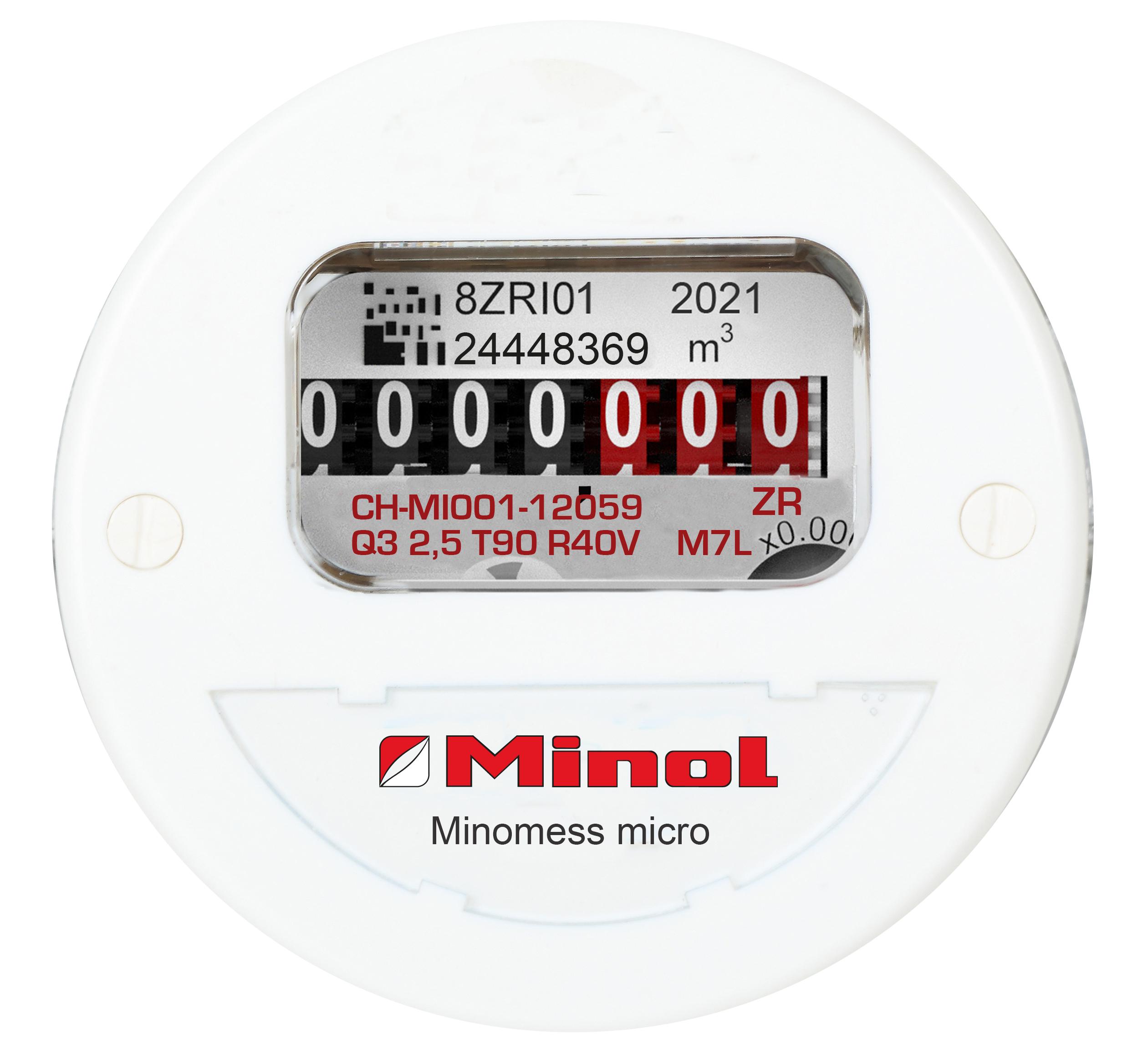 Minomess micro Unterputzzähler Warmwasser Frontansicht