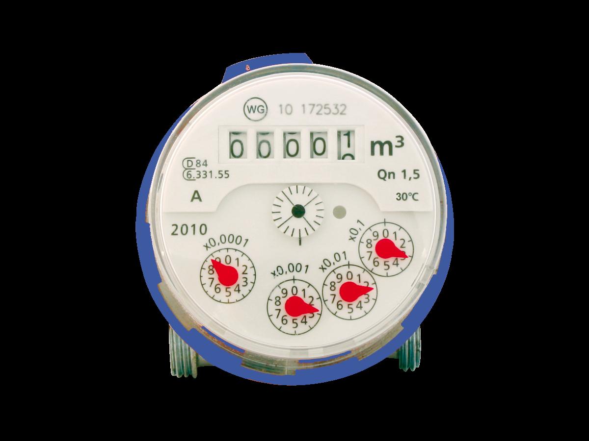 Aufputzzähler für Kaltwasser bis 30°C Qn1,5 G3/4B 60mm
