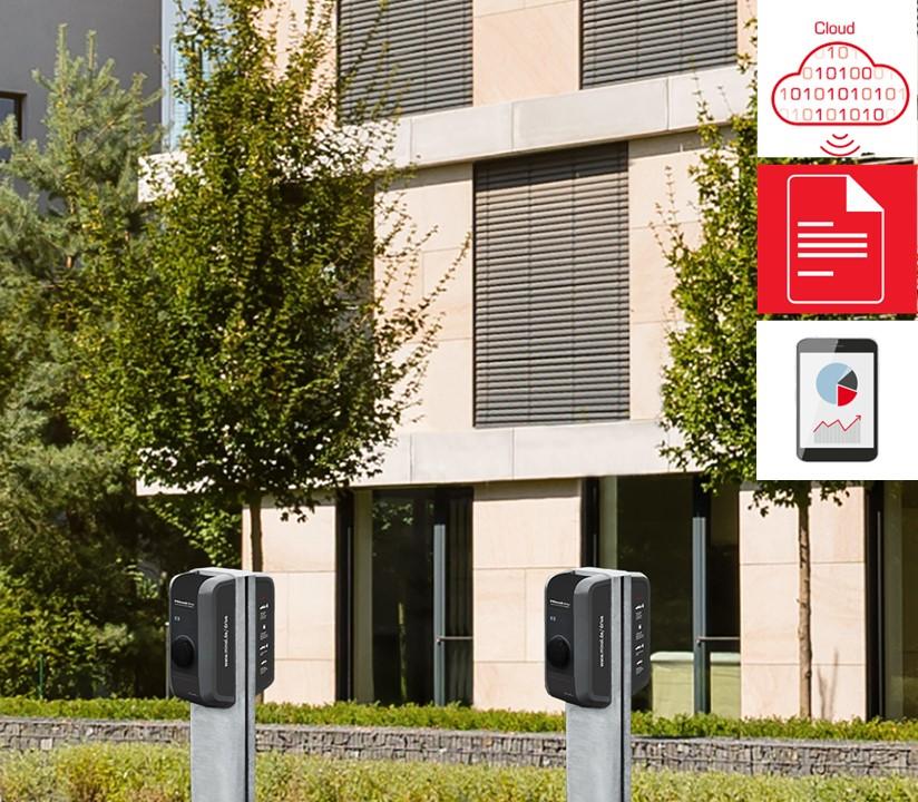 Minol Drive Dienstwagen Zuhause Laden & Abrechnen Ladesäule vor Gebäude