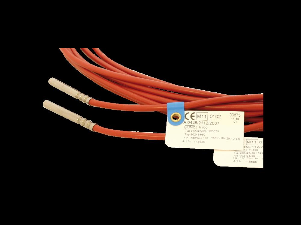 Temperaturfühlerpaar PT 500 2L 5x45mm Fühlerkabellänge 3m