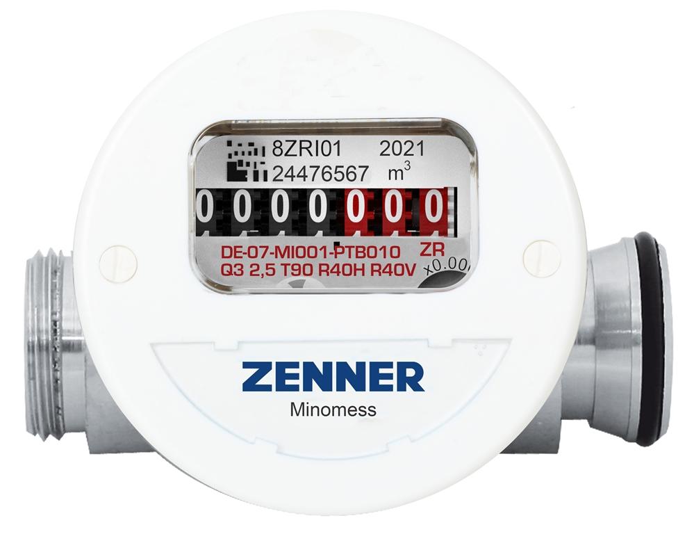 Minomess® Austauschzähler mit Anschluss Allmess Frontansicht