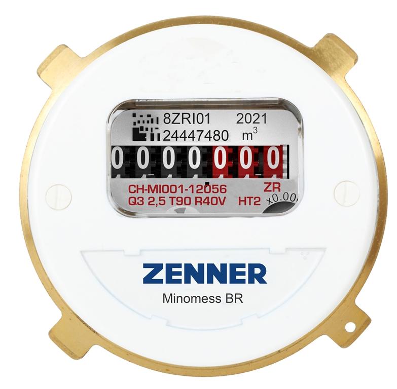 Minomess® BR Unterputzzähler Warmwasser Frontansicht
