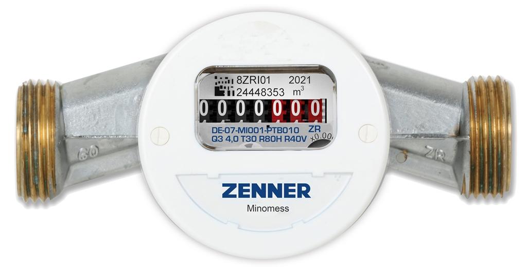 Minomess Aufputzzähler Baulänge 110-130mm Frontansicht