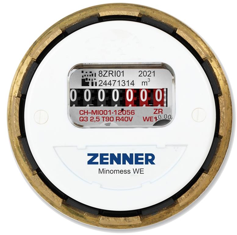 Minomess® WE Unterputzzähler Warmwasser Frontansicht